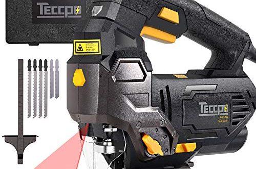Stichsäge, TECCPO 800W Elektro Stichsäge mit Laser, 6 Sägeblätter, -45° - 45° und Kurvenschnitt, 6 Geschwindigkeiten, 4-Stufen Pendelung, Werkzeugloser Sägeblattwechsel, im Koffer - TAJS01P